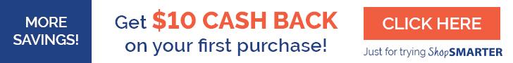 ShopSmarter - get $10 cash back on your first purchase!